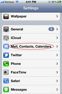 iPhone Settings -> Mail Contacts Calendars