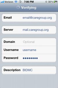 iPhone BIDMC Email Exchange Screen 2