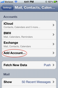 iPhone Add Email Account