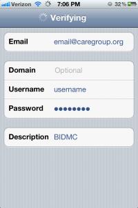 iPhone BIDMC Email Exchange Screen 1
